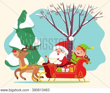 Santa Claus Riding Sleigh With Reindeer. Happy Elf And Gift Boxes On Back On Sled. Christmas Time, T