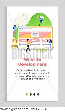 Website Development, Man And Woman Developers, Screen Of Monitor, Coding Technology, Homepage Icon O