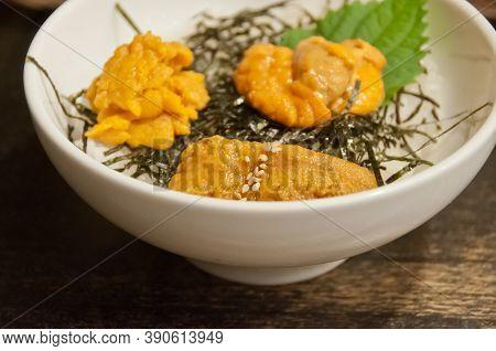 Premium Supreme Delicious Fresh From The Sea 3 Types Of Uni Sea Urchin Sashimi From Tokyo, Mexico, C