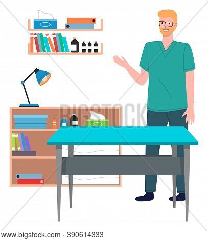 Veterinary Care. Veterinarian Doctor Male Character In The Medical Office. Doctor In A Medical Room