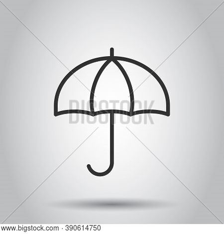 Umbrella Icon In Flat Style. Parasol Vector Illustration On White Isolated Background. Canopy Busine