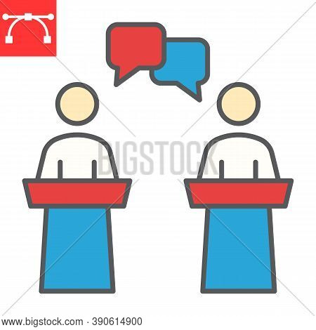Debate Color Line Icon, Election And Discussion, Political Debate Sign Vector Graphics, Editable Str