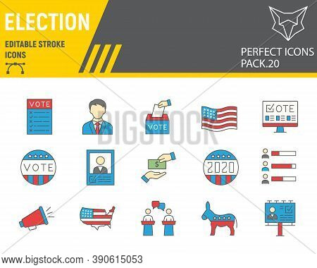 Voting And Election Color Line Icon Set, Vote Collection, Vector Sketches, Logo Illustrations, Elect