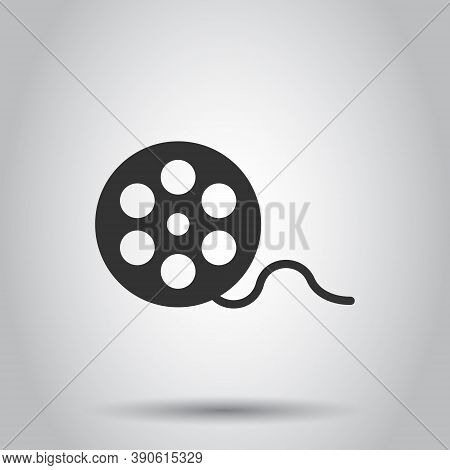 Film Icon In Flat Style. Movie Vector Illustration On White Isolated Background. Video Business Conc