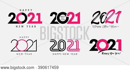 Big Set Of 2021 Happy New Year Logo Text Design. 20 21 Xmas Number Design Template. Collection Of 20