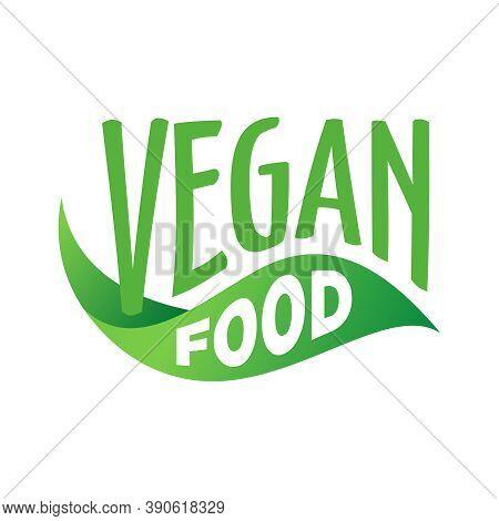 Vegetarian Food Logo Or Sticker - Flat Icon With Green Vegan Symbol Of Healthy Organic Food - Vector