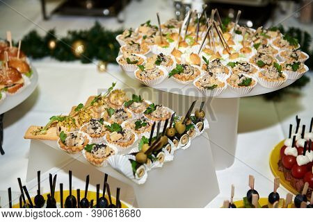 Buffet Table With Snacks, Canape And Appetizers At Luxury Christmas Party, Copy Space. Serving Food