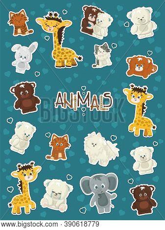Set Of Animals Giraffe, Elephant, Rabbit, Bear, Grizzly, Polar Bear, Cats, Dogs And Elephant Sticker