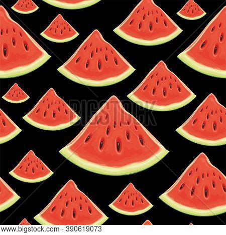Fruit Seamless Pattern With Appetizing Watermelon Slices. Vector Background With The Juicy Red Sweet