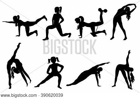 Womens Silhouettes In Sports Exercises.sports Exercises In Womens Silhouettes In Black.