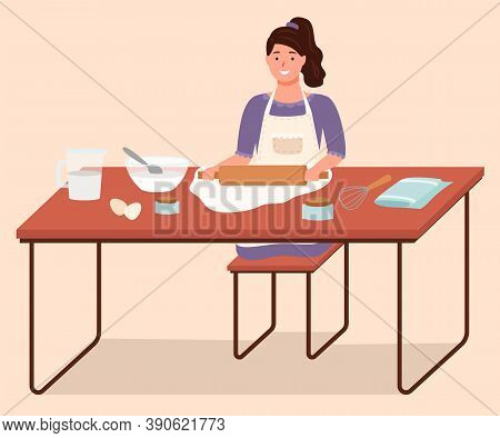 Girl Preparing Food, Using Rolling Pin To Spread Dough. Homemade Food With Organic And Natural Ingre