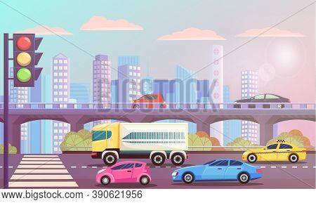 Cityscape With Street With Zebra Vector, Transportation Cars On Roads. Traffic Lights And Bridge Wit