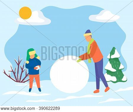 Father And Son Make Big Snowball For Snowman. Family Spend Time Actively Together In Forest. Man And