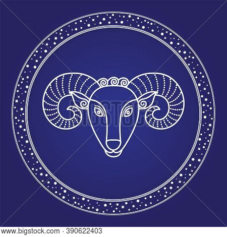 Horoscope Aries Zodiac Symbol Of Cosmic Sky. Card Horns Head Of Firs Astrological Character Isolated