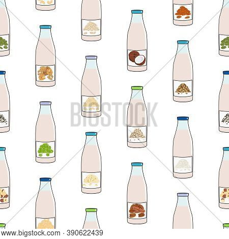Seamless Pattern Of Bottles With Plant Based Milk