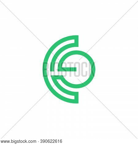 Abstract Letter Ce Stripes Geometric Line Symbol Vector