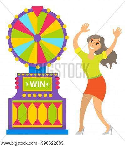 Woman Happy Of Fortune Wheel Results Vector, Gambler With Smile On Face. Lady Wearing Skirt And Blou