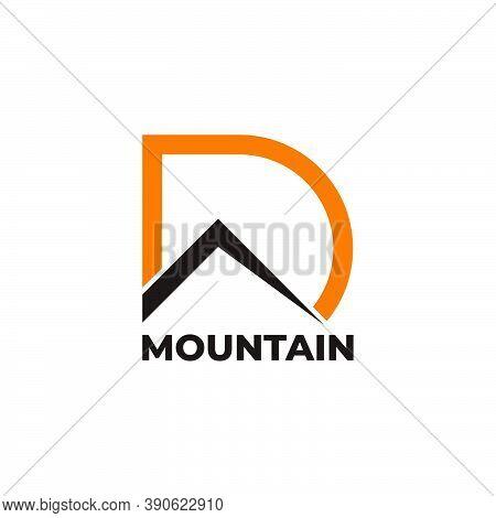 Abstract Letter D Simple Mountain Sun Symbol Logo Vector