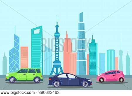 Automobile At Streets Of City Vector, Highway And Cars On Road. Cityscape Of Megapolis, Downtown Aut