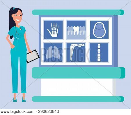 Analysis And Diagnostics Of X Ray Scanning Vector, Woman With Clipboard Smiling Doctor. Doc With Smi