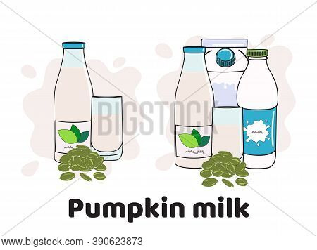 Templates With Milk In Glass, Bottles And Box. Vegan Milk Icons