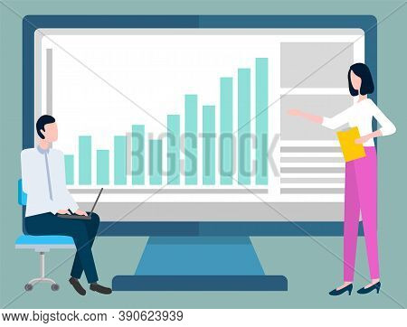 Information And Infocharts On Monitor Vector, People Dealing With Statistics And Infocharts Analysis