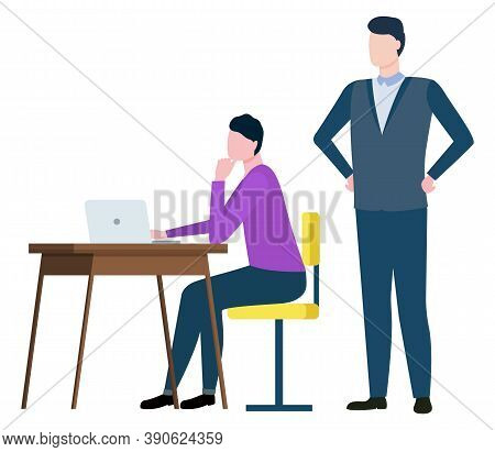 Training At Work Controlling Supervisor, Brokers Collaboration Isolated Cartoon People. Vector Male