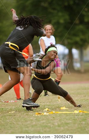 Women Practice In Flag Football League