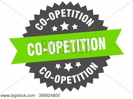 Co-opetition Sign. Co-opetition Circular Band Label. Round Sticker