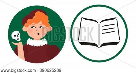 Pupil Avatar With Literature Class Icon For Web And Design. Fun Learning Concept. Flat Vector Illust