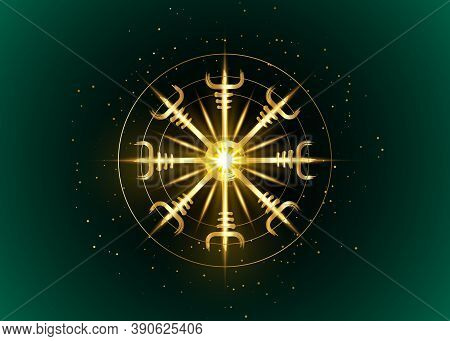 Helm Of Awe, Icelandic Magical Stave, Gold Round Vegvisir Runic Compass. Viking Symbols For The Purp