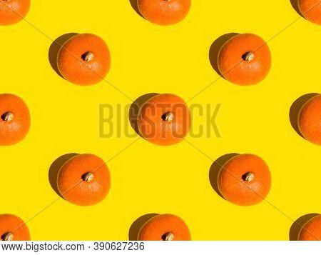 Seamless Orange Pumpkin Fall Autumn Pattern On Yellow Background. Geometric Print Poster Card Templa