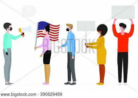 Pre-election Rally Voting People Election Campaign Vector Illustration Pre-election Canvassing. Poli