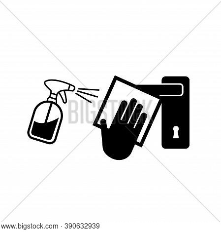 Clean High-touch Surface Regularly Prevent Of Covid-19 Black Icon,vector Illustration, Isolated On W
