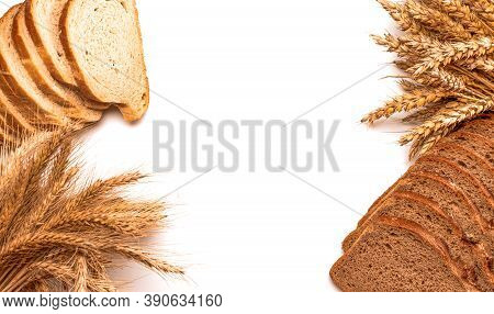 Rustic Rye. Fresh Loaf Of Rustic Traditional Bread With Wheat Grain Ear Or Spike Plant Isolated On W