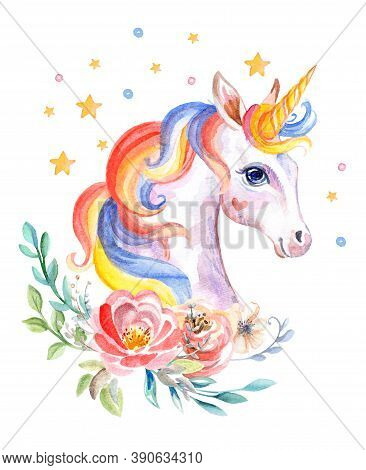 Cute Dreaming Romantic Unicorn With Flowers, Watercolor Illustration Isolated On White Background Fo