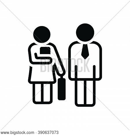 Black Solid Icon For Secretary Assistant Executive-assistant Assistance Help Employee