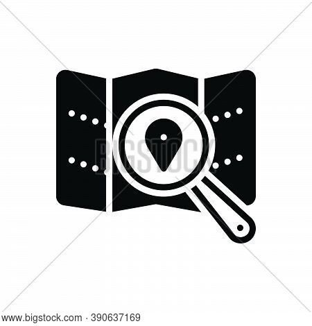 Black Solid Icon For Spot Magnifier Search Map Pin Marker Direction Gps Location Place Position Loca