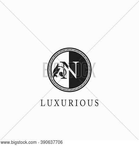 Vintage Circle N Letter  Logo Icon. Classy Ornate Leaf Shape Design On Black And White Color For Bus