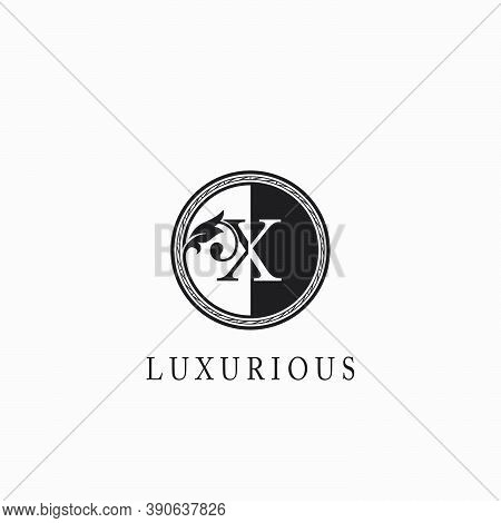 Vintage Circle  X Letter  Logo Icon. Classy Ornate Leaf Shape Design On Black And White Color For Bu