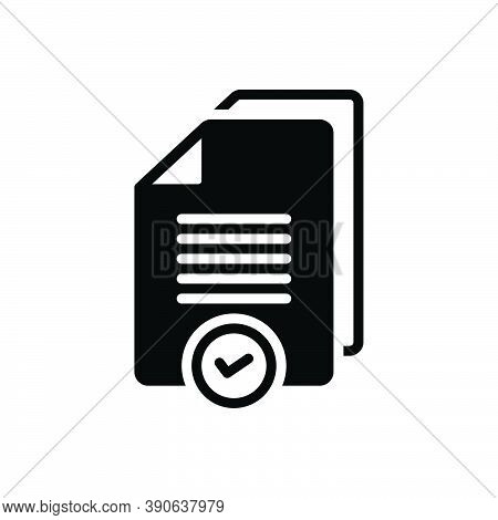 Black Solid Icon For Proper Reasonable Advisable Right Suitable Pertinent Wrong Document Paper
