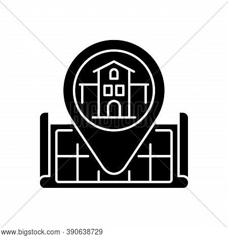 House Location Black Glyph Icon. Pinpoint Home On Map. Gps Marker For Residential Accommodation. Sea
