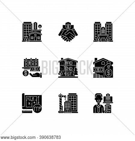 Realty Black Glyph Icons Set On White Space. Property Types. Business Deal. House Mortgage. Home For