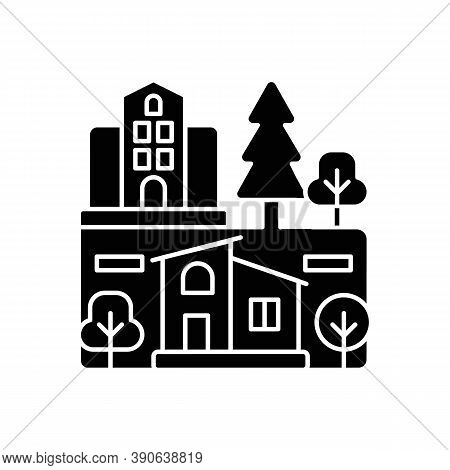 Neighborhood Black Glyph Icon. Downtown District. Suburban Living. Property Types In Metropolis. Sky