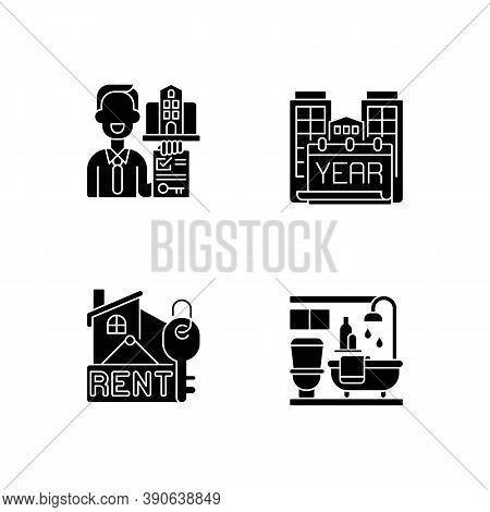 Realtor Agency Black Glyph Icons Set On White Space. Year Built. Rental Price For Home. Bath Room In