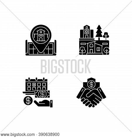 Commercial Deal For Realty Black Glyph Icons Set On White Space. Real Estate. House Location On Map.