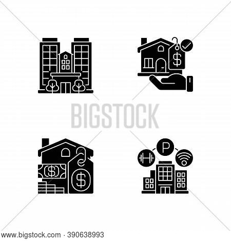 Business Property Black Glyph Icons Set On White Space. Real Estate. Realty For Sale. Skyscraper And