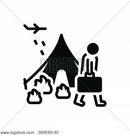 Black Solid Icon For Refugee Fugitive Migrant Runaway Displaced Luggage Displacement