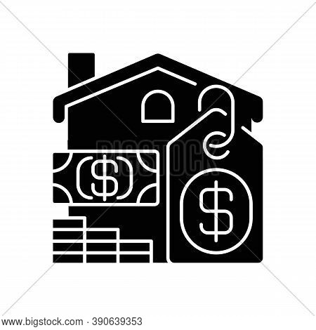 Price Black Glyph Icon. House Mortgage. Buying Home. Residential Property For Sale. Invest In Realty