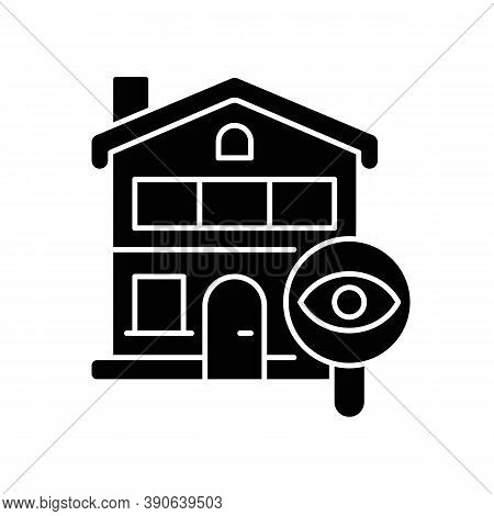 Home Tour Black Glyph Icon. Search For Housing. Look For Home. Residential Property. Discover Real E